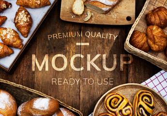 Wooden Bakery Table Mockup