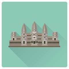 Angkor Wat ancient temple flat design long shadow icon