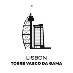 Vasco da Gama Tower at Lisbon, Portugal, vector illustration