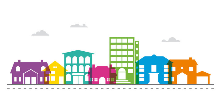 Small town main street neighborhood vector illustration