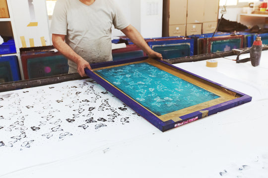 Textile factory equipment - stencils with patterns for printing on cloths