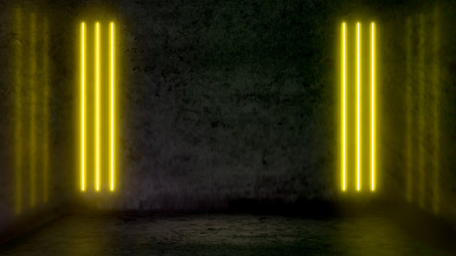 Empty dark abstract room with yellow fluorescent neon lights. Stage, scene and night club party concept background with copy space for text or product display.