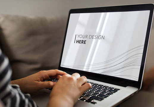 Close View Mockup of Laptop and User