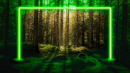 Green fluorescent neon laser lights in magical forest landscape. Mysterious UFO portal gate concept background. Wall mural