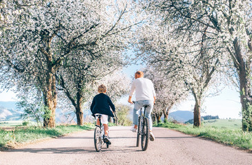 Father and son iding bicycles on country road under blossom trees. Healthy sporty lifestyle concept image.