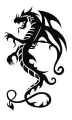 Black tribal dragon tattoo on white background. Vector illustration