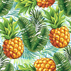 Pineapple. Seamless pattern. Vector floral pattern.