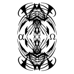 Tattoo designs. Alpha and Omega, abstract element on white background, black pattern vector