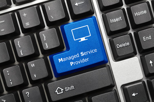 Conceptual keyboard - Managed Service Provider (blue key)