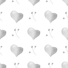 Watercolor seamless pattern with silver hearts.