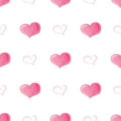 Watercolor seamless pattern with bright pink hearts.