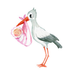 Watercolor illustration. The picture shows a crane that holds a baby wrapped in a blanket in its beak