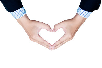 Heart-shaped hands show that one person gives a good thing to another. Giving love Expression of love and concern for each other.