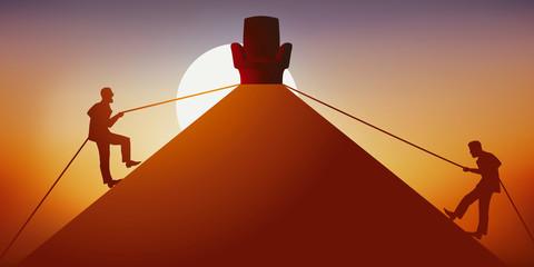Concept de la course au pouvoir avec deux hommes qui montent de part et d'autre d'une pyramide pour atteindre en premier le sommet où se trouve un trône, symbole du leadership