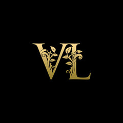 Golden Flower VL Letter Logo