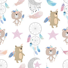 Pastel hand drawn seamless pattern with feather,dreamcather,wild,moon,star and bear