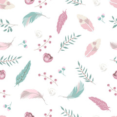 Pastel hand drawn seamless pattern with feather,rose,leaf and flower