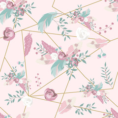 Wall Mural - Pastel hand drawn seamless pattern with feather,rose,leaf,geometric and flower