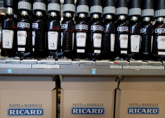 Bottles of the Ricard aniseed-flavoured beverage are pictured at the Ricard manufacturing unit in Lormont, near Bordeaux