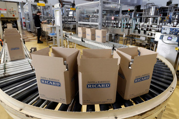 Boxes of bottles of Ricard's aniseed-flavoured beverage are pictured at the Ricard manufacturing unit in Lormont, near Bordeaux