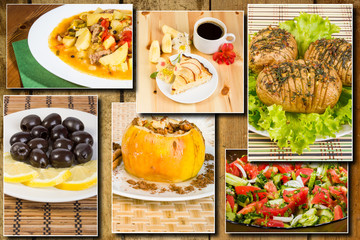 Photo collage of Lunches, breakfasts and snacks