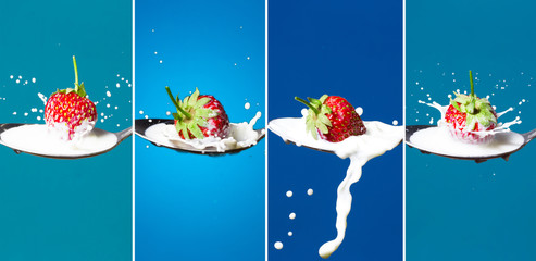 A collage of high-speed photos of strawberries falling into a spoon with milk