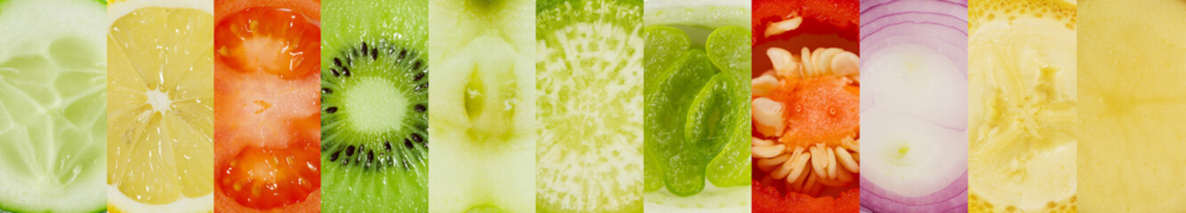 Large collage of fruits and vegetables