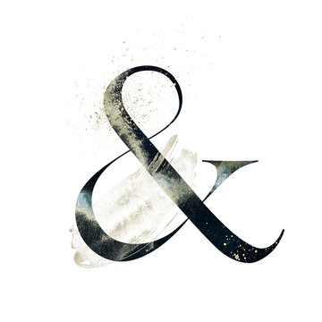 Abstract Alphabet Font - textured ampersand & composition with brush stroke. Unique collection for wedding invites decoration and many other concept ideas.
