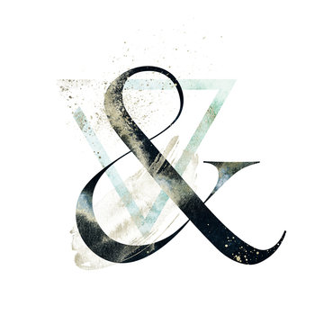 Abstract Alphabet Font - textured ampersand & composition with geometric delicate shape triangle. Unique collection for wedding invites decoration and many other concept ideas.