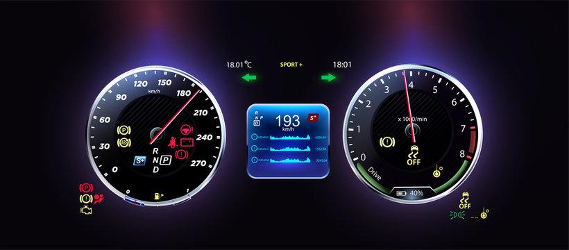 Car dashboard modern automobile control illuminated panel speed display. Futuristic car dashboard, the concept of the future car dashboard
