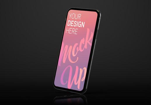 Side View Mobile Phone Mockup on Black Background