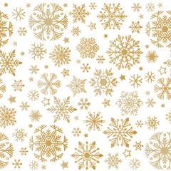 Elegant a flat Golden snowflakes seamless pattern.