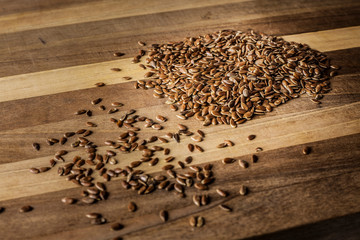 linseeds on wooden table