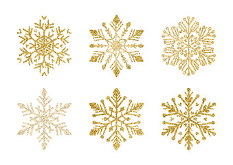 A Golden snowflakes set. Elegant Christmas snow Wall mural