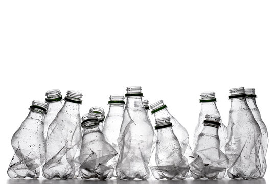 smashed plastic bottles