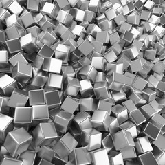 Chrome abstract heap of cubes backdrop. Contrast 3d rendering geometric polygons, as mirror wall. Interior room
