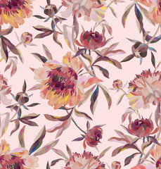 Floral seamless pattern with blossom flowers. Hand drawn peonies, buds and leaves painted with acrylic and gouache. Backdrop for wallpaper, fabric, textile, texture, wrapper or surface.