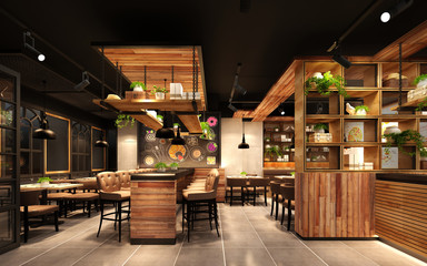 Fototapeten Restaurant 3d rende render luxury restaurant cafe