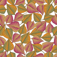 Vector seamless pattern  with colorful autumn leaves
