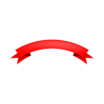 Red blank arched ribbon on white background