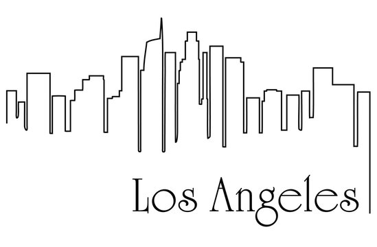 Los Angeles city one line drawing abstract background with cityscape