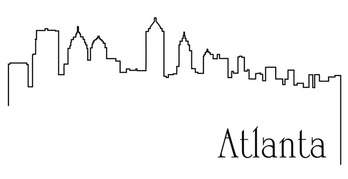 Atlanta city one line drawing abstract background with cityscape