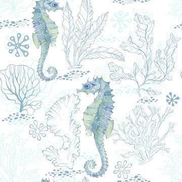 Seamless pattern with watercolor seahorses and underwater plants on a white background.