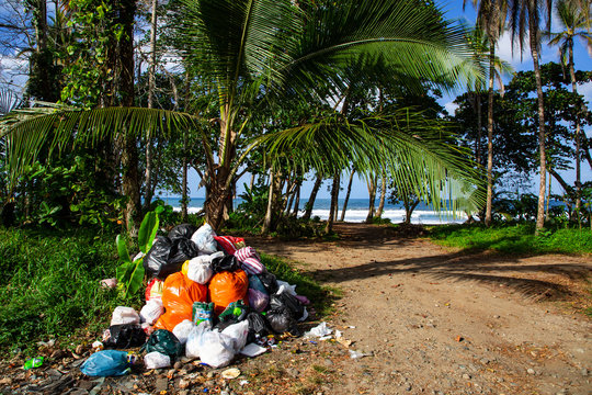 garbage in the caribbean at costa rica close to the beach