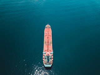 Indonesia, Bali, Aerial view of oil tanker