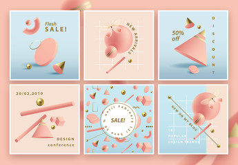 Square Social Media Post Layouts with Pastel 3D Geometric Shapes