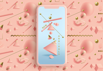 Social Media Story Layouts with Pastel 3D Geometric Shapes