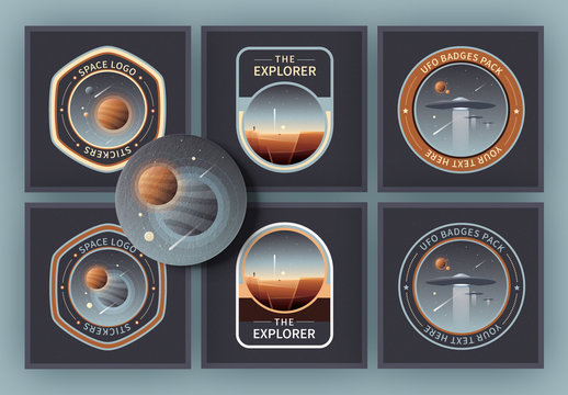 6 Logo Layouts with Outer Space Icons