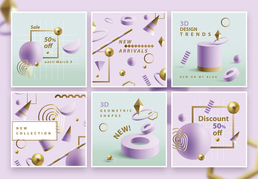Square Social Media Post Layouts with Purple Geometric Shapes