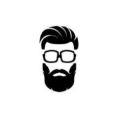 Set of silhouette bearded men faces